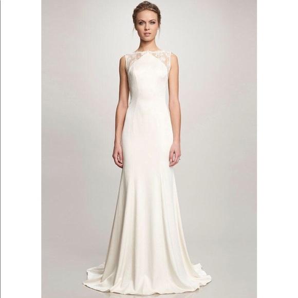 Theia Dresses | Taylor Lace Crepe Wedding Gown Sleeveless | Poshmark